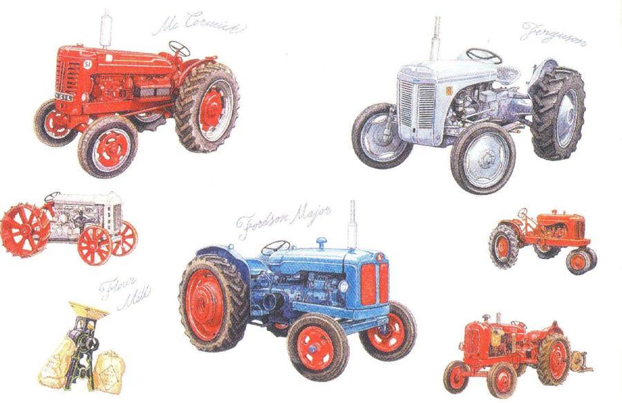 Rectangular Fridge Magnet - Tractors