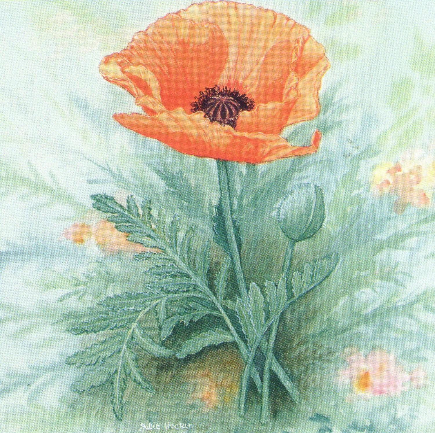 Square Fridge Magnet - Poppy