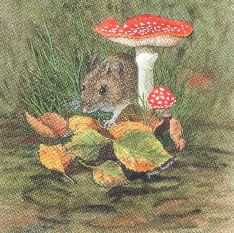 Square Fridge Magnet - Wood Mouse
