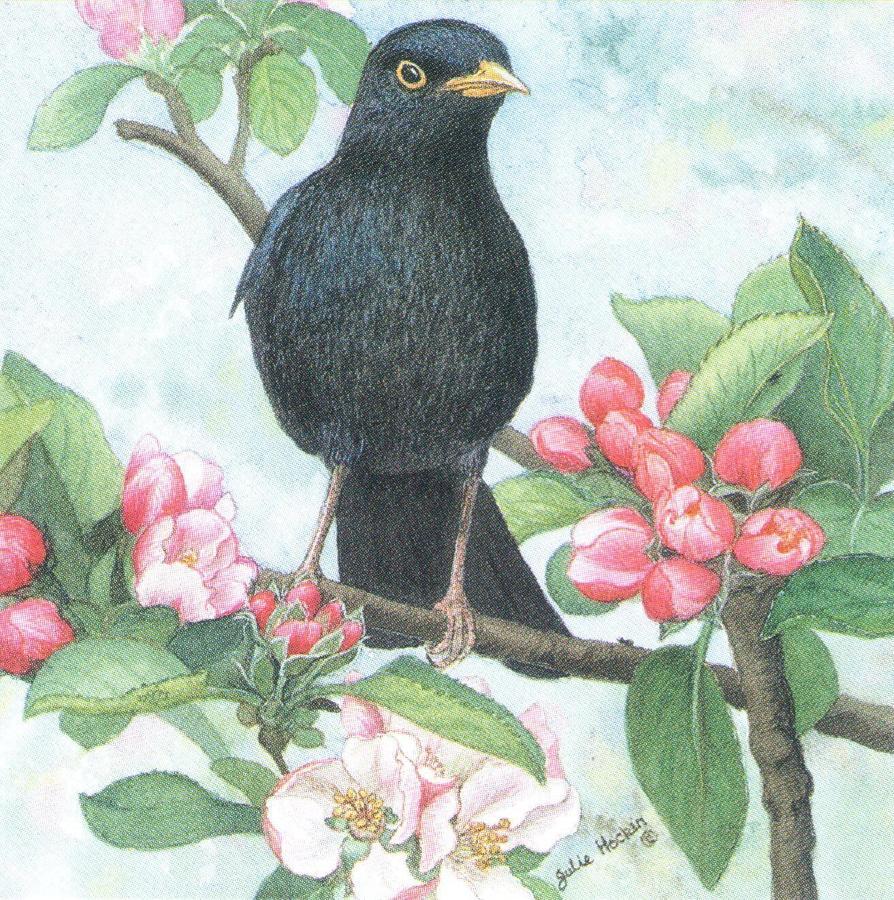 Square Fridge Magnet - Black Bird