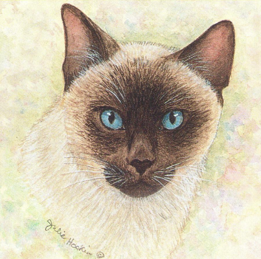 Square Fridge Magnet - Siamese Cat