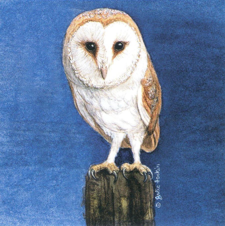 Square Fridge Magnet - Barn Owl