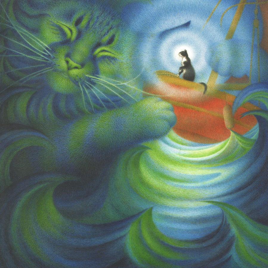 Square Fridge Magnet - Calming the Storm Cat