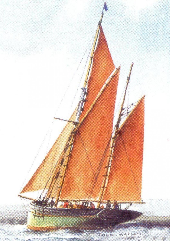 Rectangular Keyring - Brixham Trawler