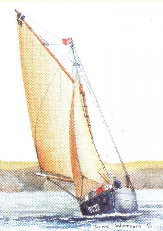 Rectangular Keyring - Cornish Oyster Boat