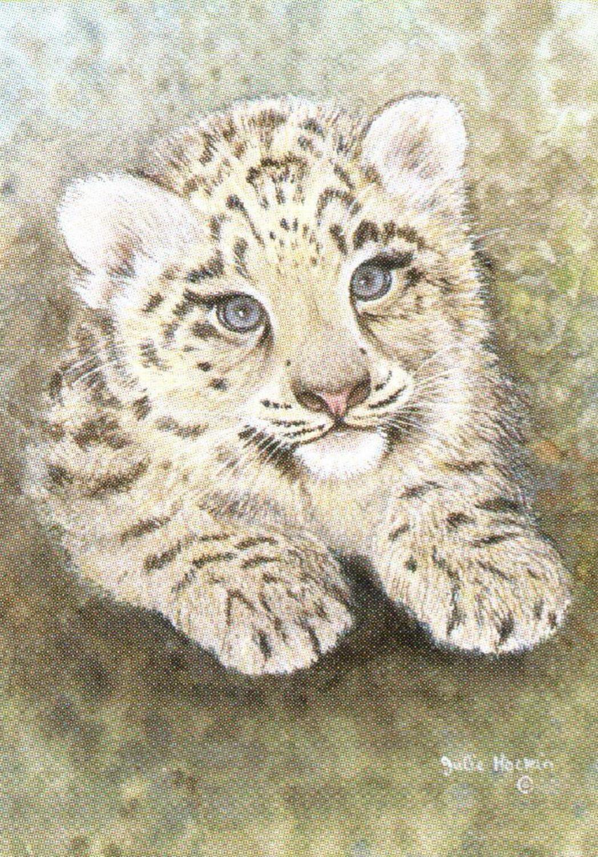 Rectangular Keyring - Snow Leopard Cub