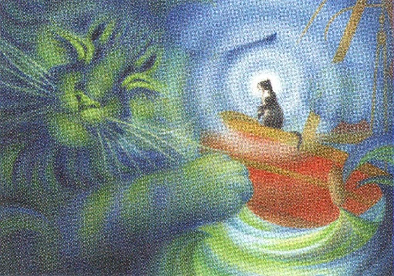 Rectangular Keyring - Calming the Storm Cat