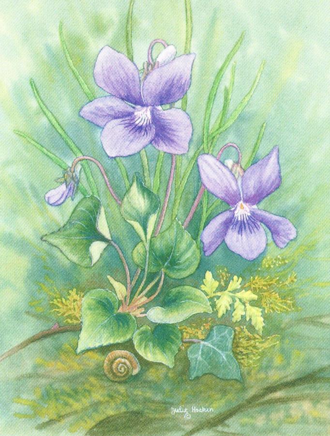 Folded Gift Tag Violets