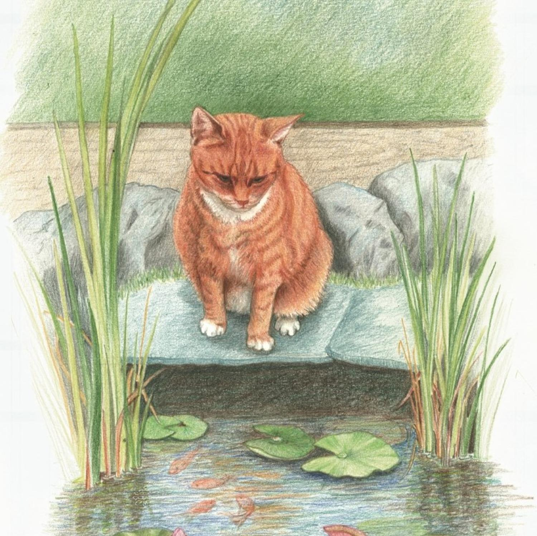 Ceramic Pot Stand  Ginger Cat
