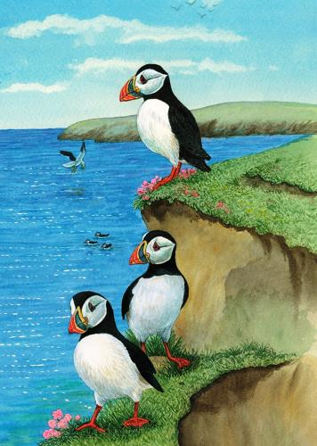 Glass Work Top Saver - Puffins