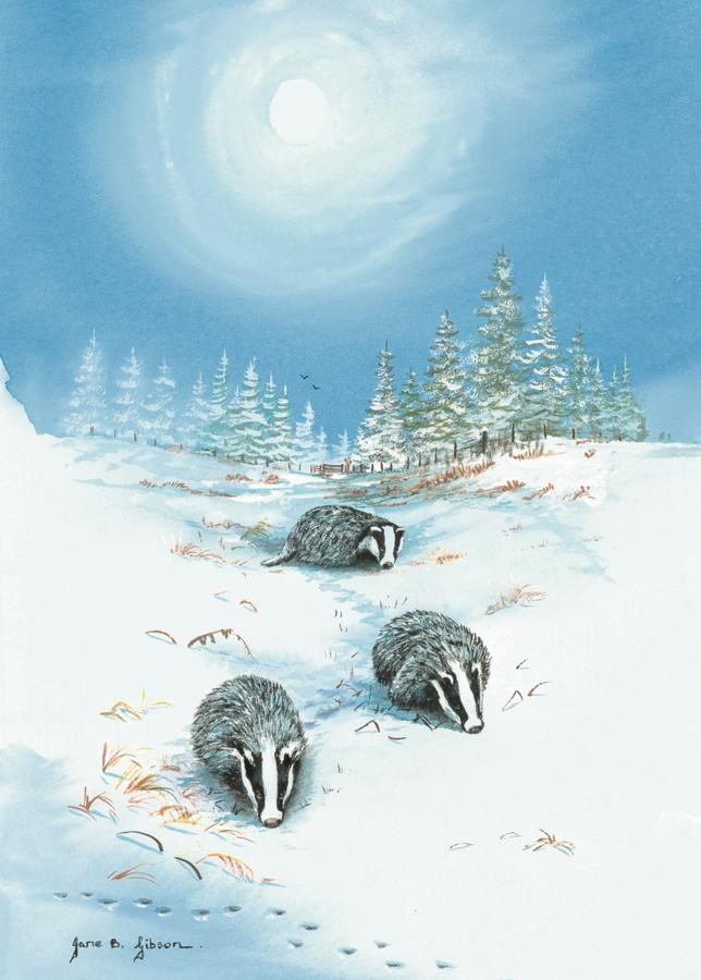 Glass Work Top Saver - Badgers in the Snow