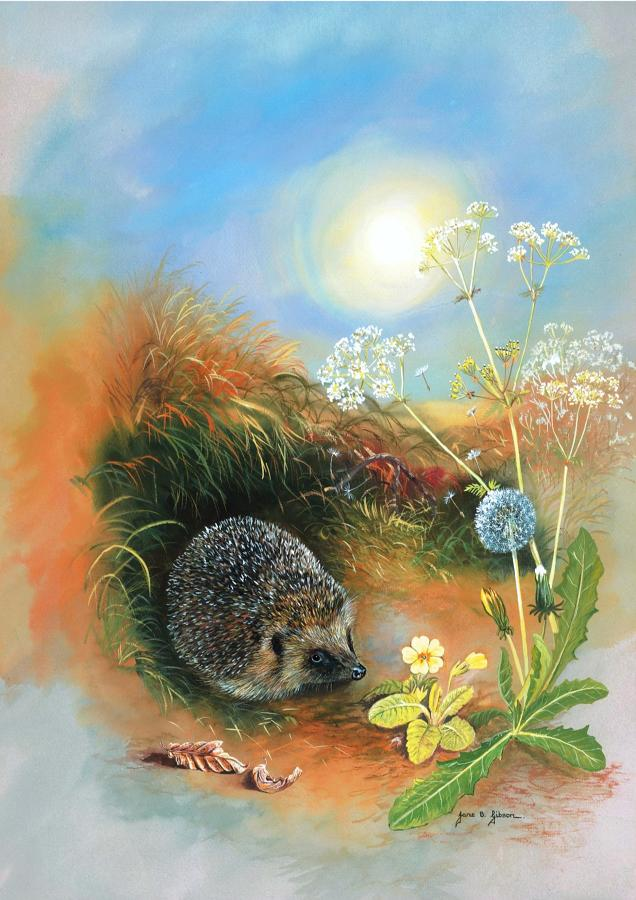 Glass Work Top Saver - Hedgehog & Dandelion