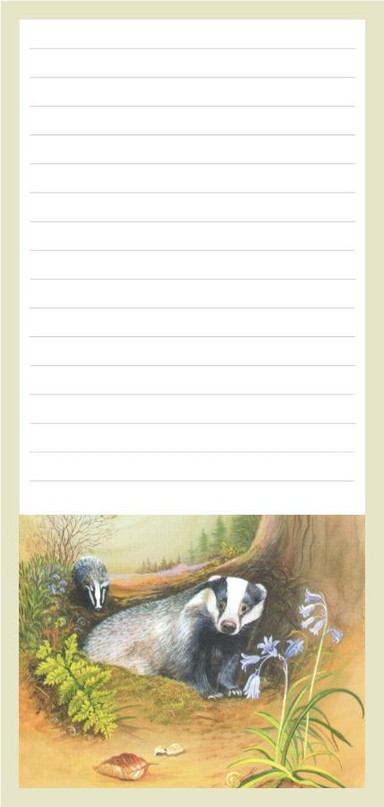 Magnetic Shopping List Pad - Badgers at Night