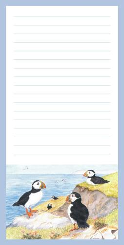 Magnetic Shopping List Pad - Puffins