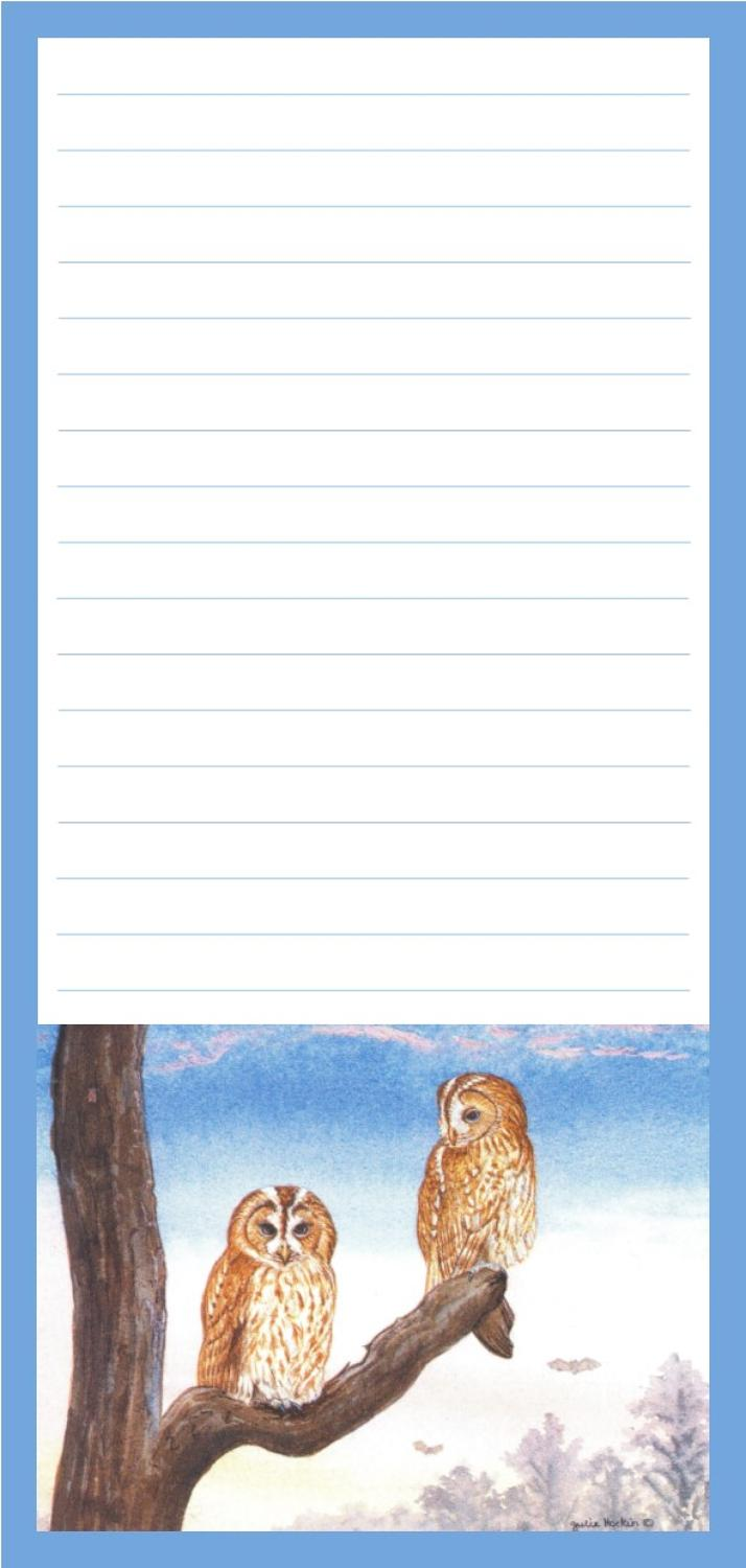 Magnetic Shopping List Pad - Tawny Owls at Sunset