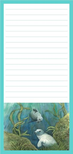 Magnetic Shopping List Pad - Grey Seals