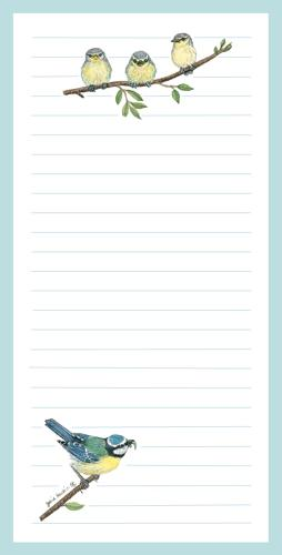 Magnetic Shopping List Pad - Blue Tits
