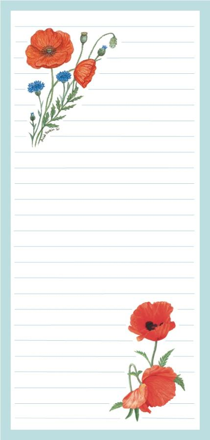 Magnetic Shopping List Pad - Poppy