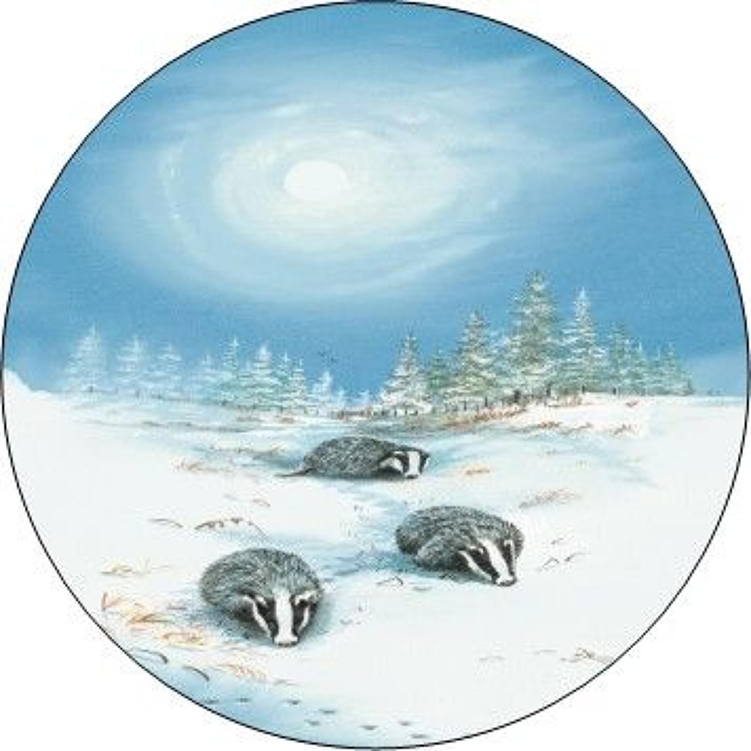 Compact Pocket Mirror - Badgers in Snow