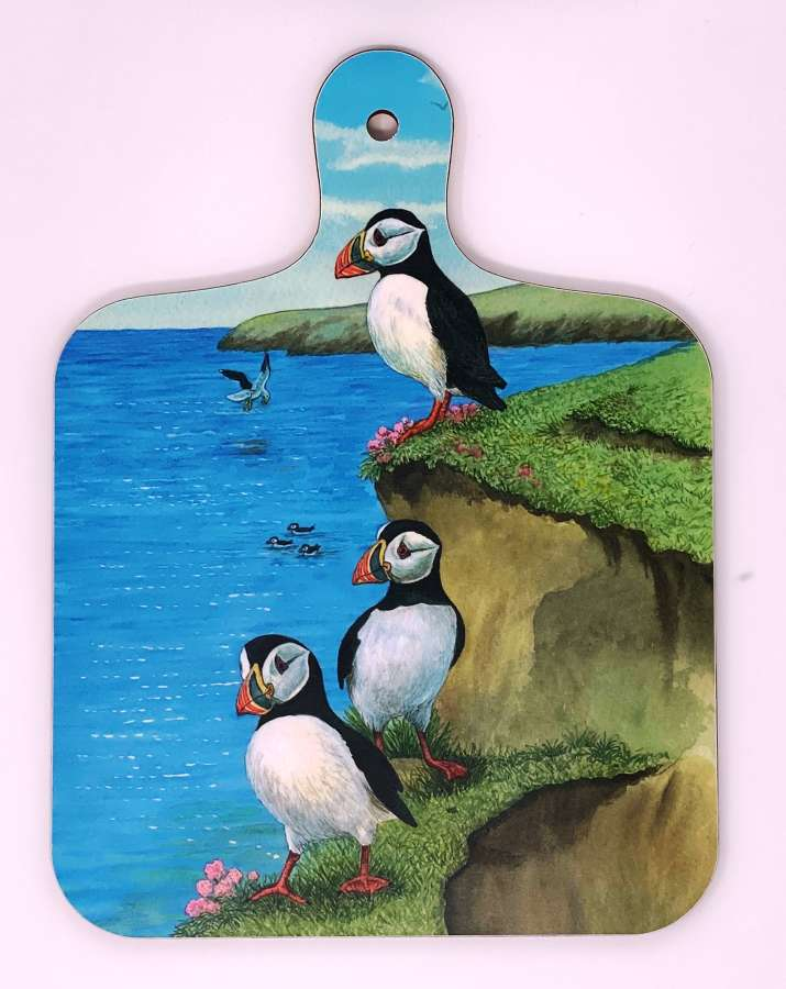 Mini Chopping Board - Puffins