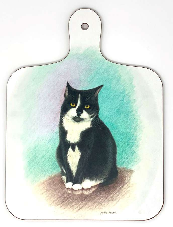 Mini Chopping Board - Black & White Cat