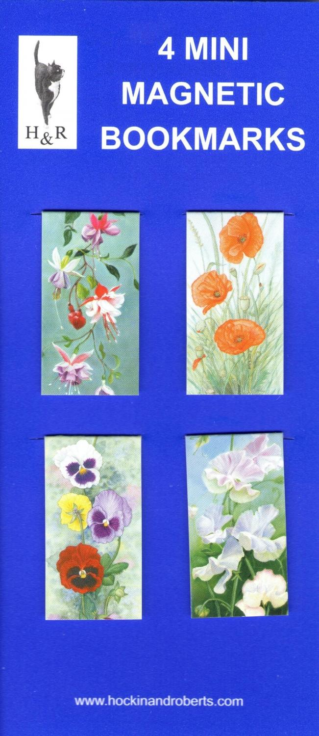 Set of Mini Magnetic Bookmarks-Garden Flowers