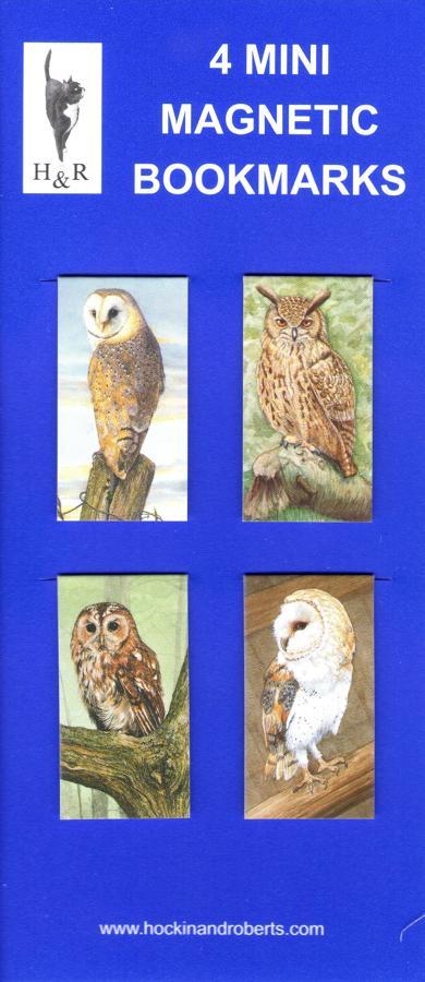 Set of Mini Magnetic Bookmarks - Owls