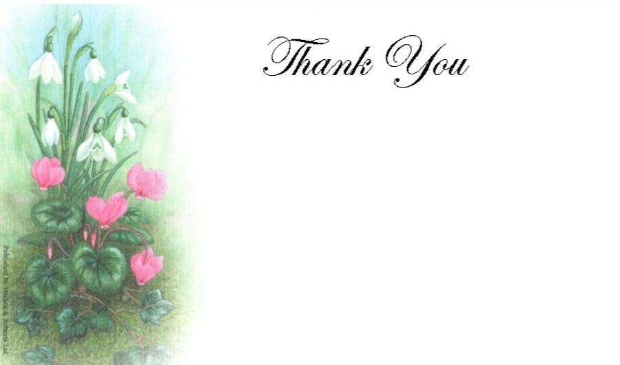 Thank You Cards - Cyclamen & Snowdrop