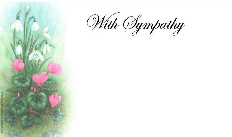 With Sympathy Card - Cyclamen & Snowdrop