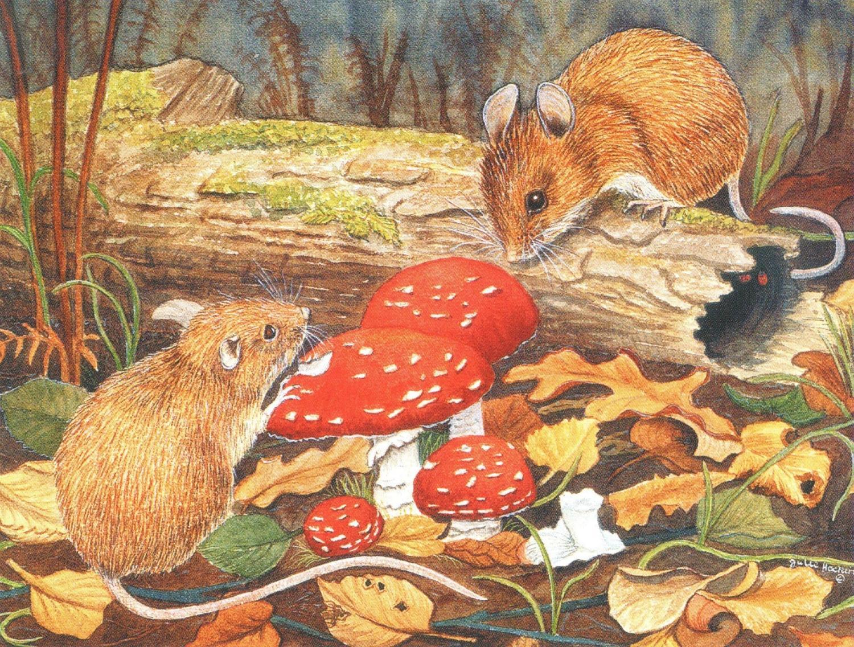 Magnetic Fridge Pad - Wood Mice