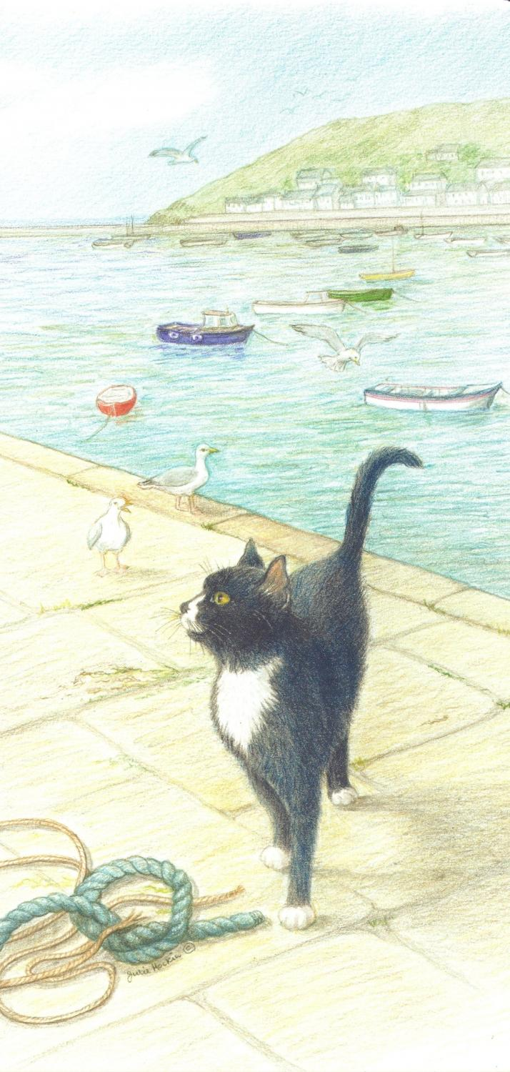 Tall Card - Cat on the Quay