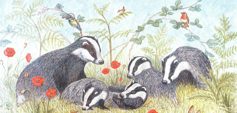 Tall Card - Badger Family