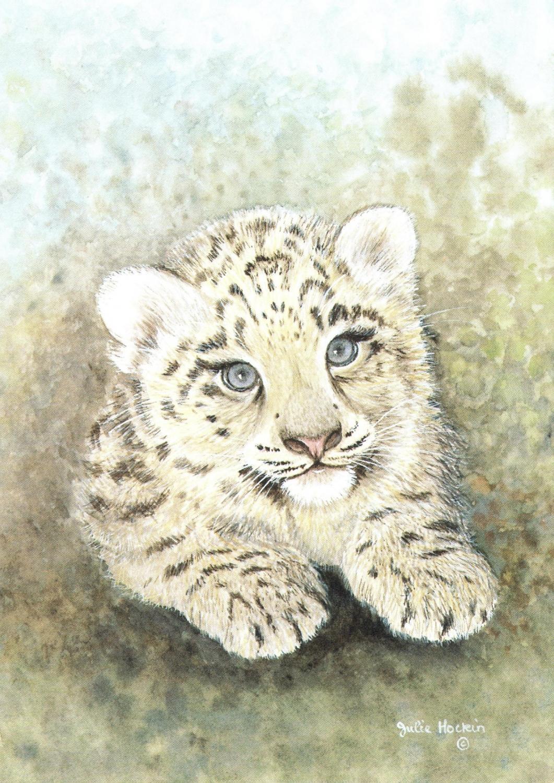 A6 Card - Snow Lepoard Cub